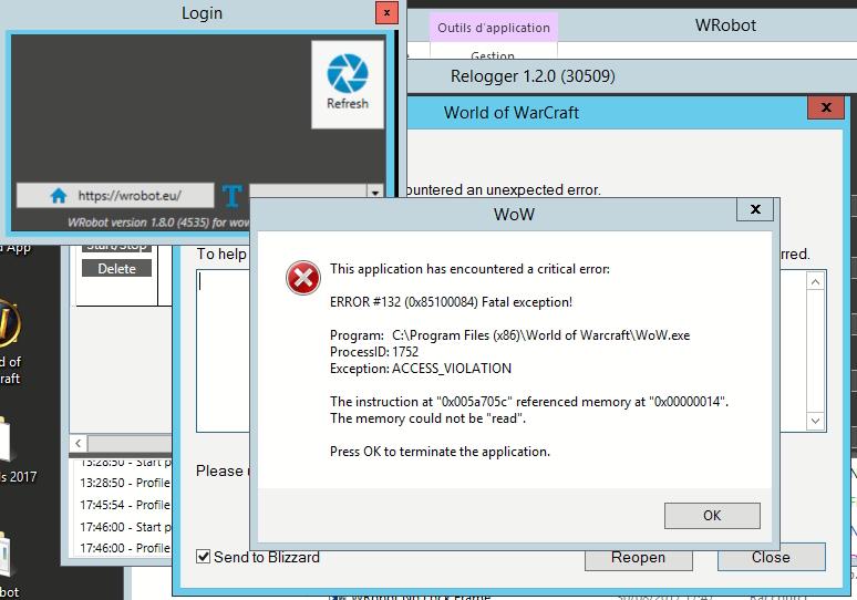 Relogger error - General assistance - WRobot